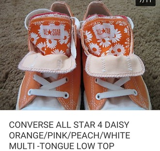 shoes converse orange daisy