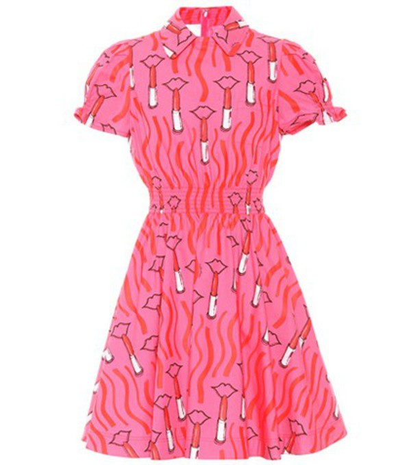 Valentino Printed cotton minidress in pink