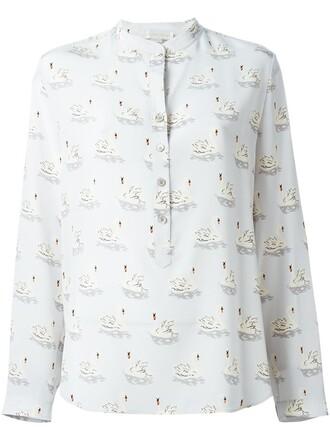 shirt women print silk grey top