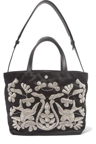 embroidered black satin bag