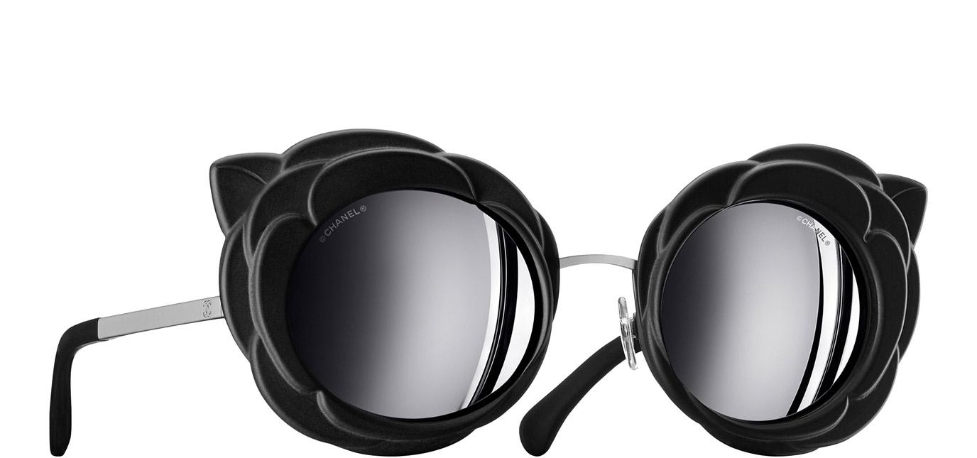 1288550c42 Black   dark silver Round Runway Chanel Sunglasses with Black Mirror Lenses