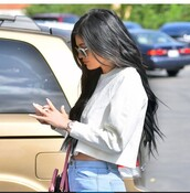 top,kylie jenner,kardashians,white,crop,crop tops,long sleeve crop top,jeans,hair accessory,sunglasses,shoes,phone cover