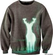 sweater,harry potter,deer,grunge wishlist,cute,oversized sweater,green