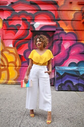 colormecourtney blogger shoes bag pants top yellow top clutch white pants sandals yellow shoes high heel sandals summer outfits