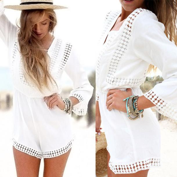 861b5f0919a0 romper trim white romper cute summer dream closet couture black playsuit