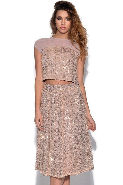 Skirt: gold sequins, sequin midi skirt, midi skirt, sequin ...