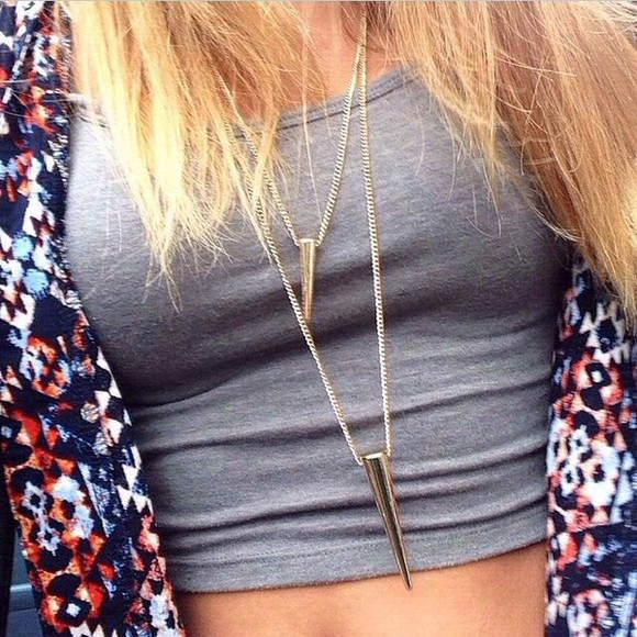jewels grey jacket grey top top crop tops necklace cardigan navajo gold gold jewelry gold jewels gold necklace