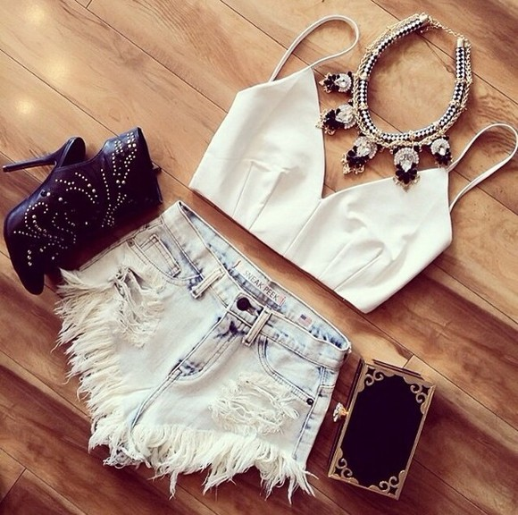 High waisted shorts denim faded shorts bag shirt denim shorts bralette tank top jewels shoes top white top hipster in right now love it cute must have twitter