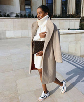 dress,tumblr,knit,knitwear,knitted dress,sweater dress,turtleneck dress,turtleneck,coat,nude coat,bag,clutch,sneakers,new balance,white sneakers