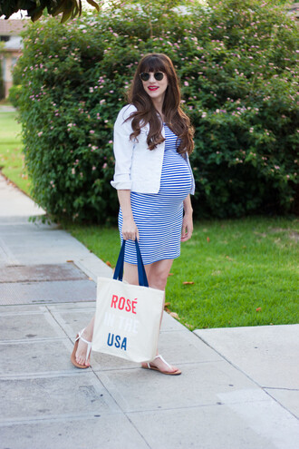 jeans and a teacup blogger dress bag shoes jacket striped dress maternity dress maternity sandals tote bag summer outfits