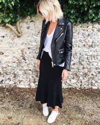 skirt blogger blogger style perfecto midi skirt white t-shirt t-shirt white sneakers
