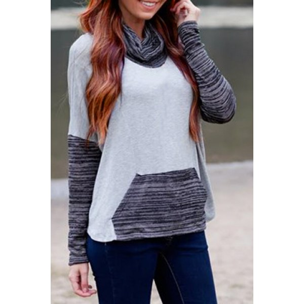 Stylish Cowl Neck Long Sleeve Color Block Sweatshirt For Women ...