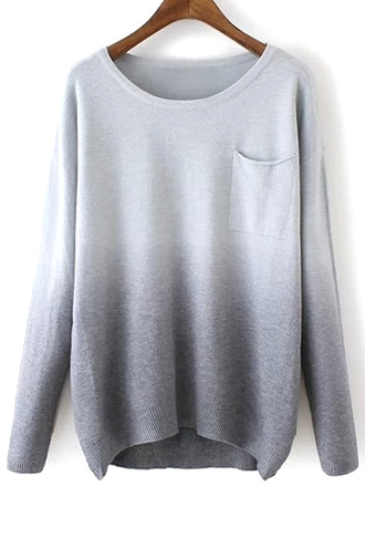sweater grey ombre fashion fall outfits warm cozy gradient long sleeves pockets style cool trendy casual winter outfits clothes