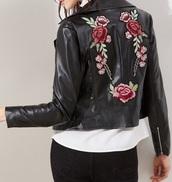 jacket,leather,leather jacket,biker jacket,embroidered,floral,black