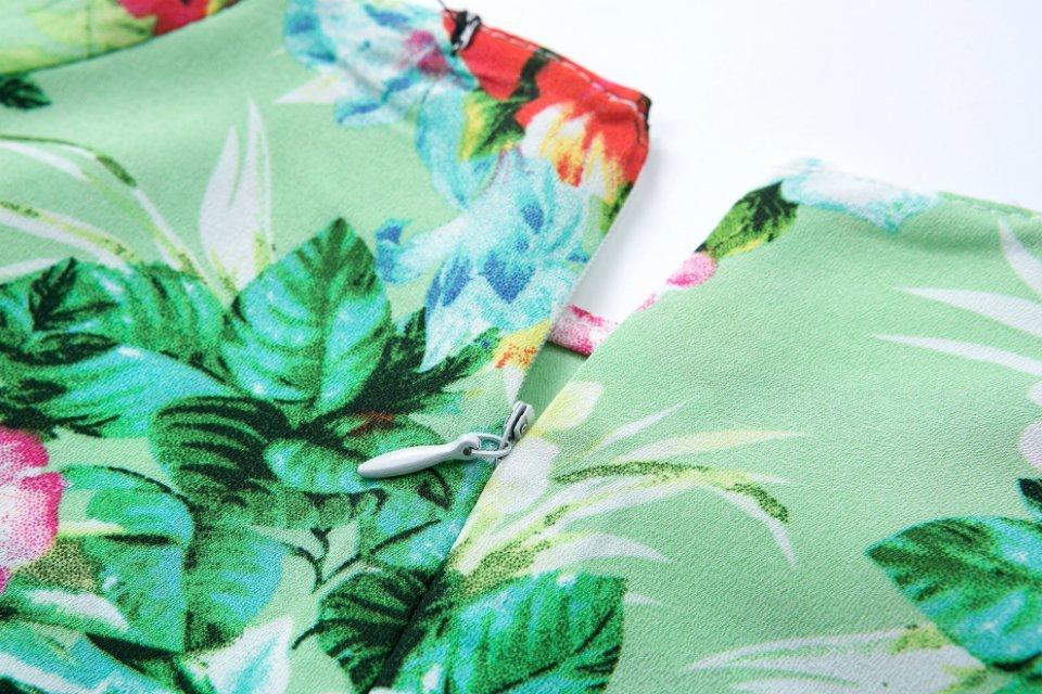 Green Short Sleeve Floral Ruffle Slim Blouse - Sheinside.com
