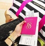 jewels,vs passport pink,passport cover