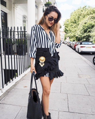 skirt tumblr ruffle wrap ruffle skirt wrap skirt shirt stripes striped shirt bag sunglasses