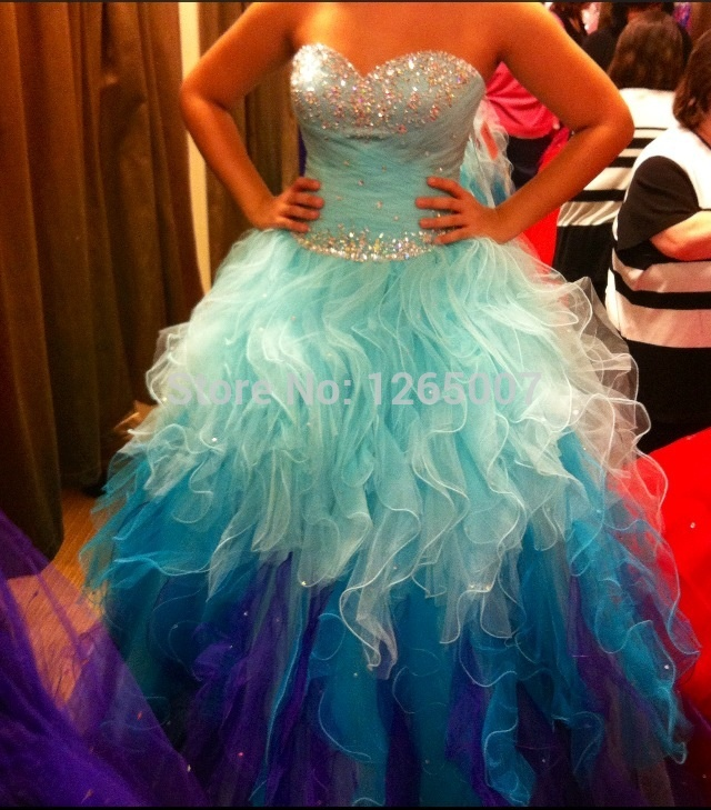 Aliexpress.com : Buy Fashion Sweetheart Silver Beaded Ruffles Top Blue Purple Sparkly Puffy Poofy Ball Gown Quinceanera Dreses Ball Gown from Reliable gown photos suppliers on SFBridal