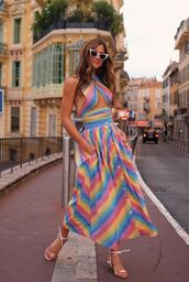 skirt,top,stripes,colorful,summer,summer top,summer outfits,rocky barnes,instagram,blogger,midi skirt,sandals,sunglasses