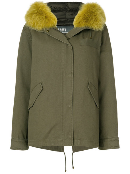 Army Yves Salomon jacket feathers oversized fur fox women cotton green