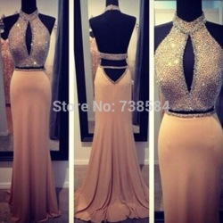 Online shop free shipping sheath halter bead two pieces keyhole back champagne evening dress