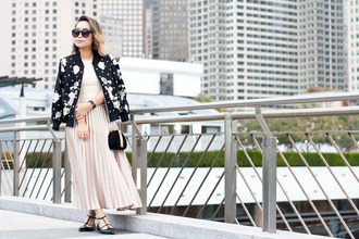 it's not her it's me blogger skirt jacket sweater top bag jewels bomber jacket pleated skirt pink skirt