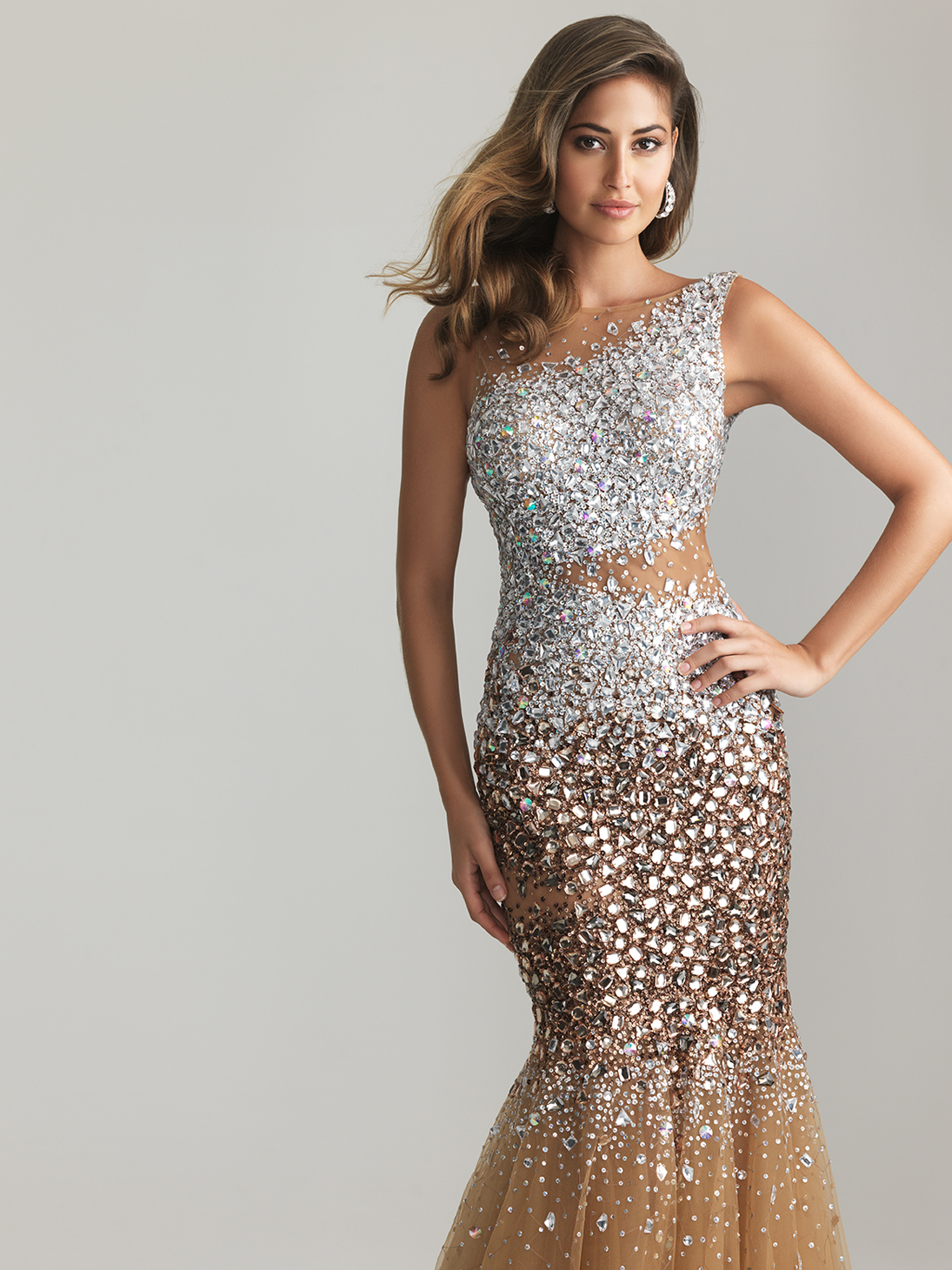 Nude Sheer Sequin & Tulle Low Back Mermaid Prom Gown - Unique Vintage - Prom dresses, retro dresses, retro swimsuits.