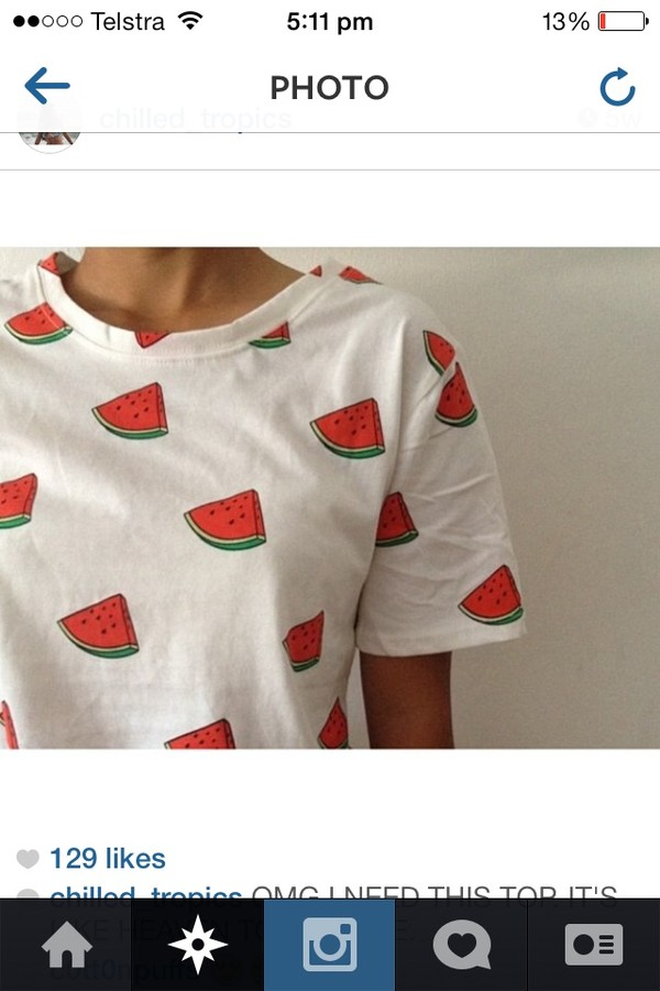 t-shirt white watermelon print