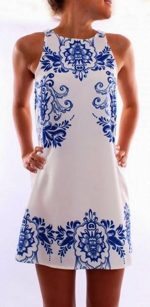 dress blue pattern blue and white mini dress white dress blue