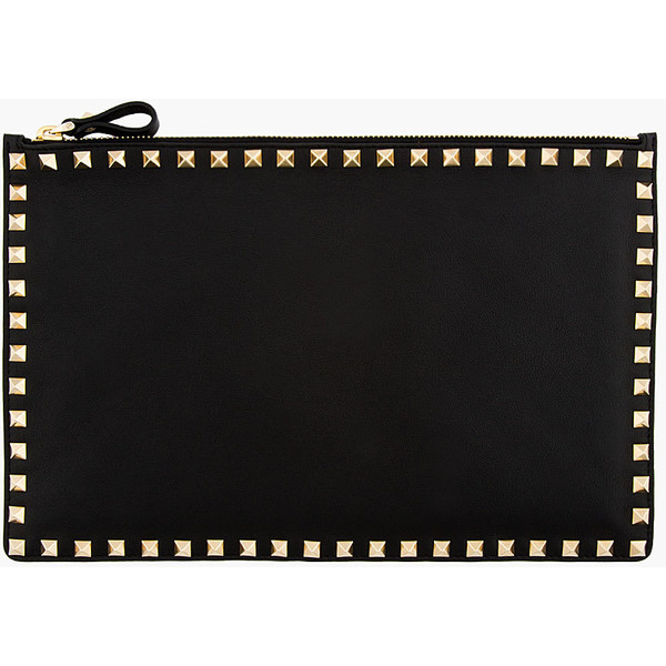 VALENTINO Black Leather Studded Zip Pouch - Polyvore