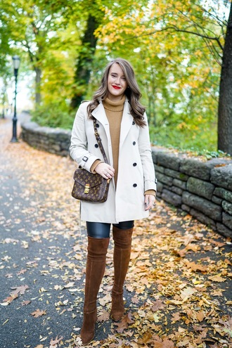 curvy coat sweater leggings shoes make-up louis vuitton louis vuitton bag turtleneck sweater thigh high boots cold weather outfit winter outfits winter look