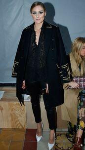 blouse,olivia palermo,blogger,pumps,pants,Paris Fashion Week 2017,coat