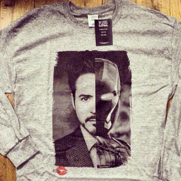 t-shirt robert downey jr iron man grey cotton