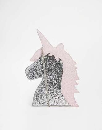 bag unicorn glitter silver girly girly wishlist sparkle chain bag