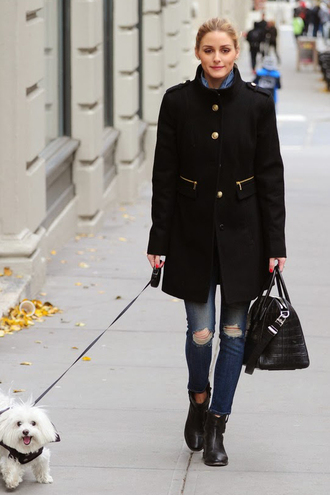 coat olivia palermo fall outfits bag