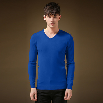 sweater blue solid color long sleeves v neck menswear mens fashion style royal blue mens t-shirt