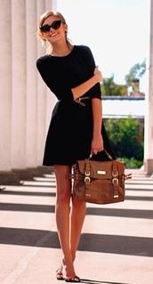 dress,sunglasses,black dress,classy,bag,little black dress,prom dress,formal dress,satchel bag,skater,smart,a line