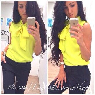 blouse shiffon shiffonblouse yellow top