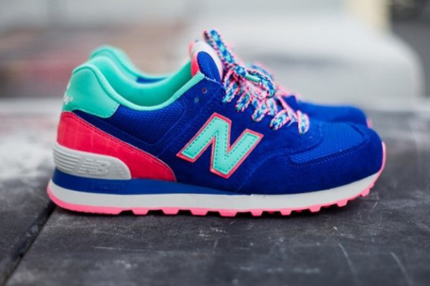 shoes new balance sneakers pink teal mint colorful new balance blue candy footwear cute trainers multicolor sneakers blue new balances new balance 574 new balance 574 blue candy
