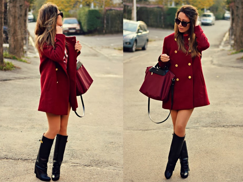 Leather Wedge Knee Boots   Choies