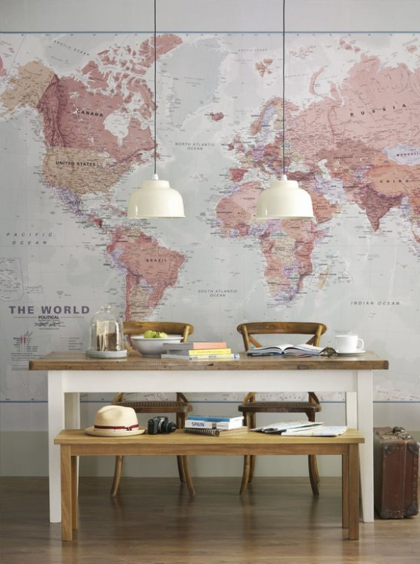 home accessory map print hipster table our favorite home decor 2015 wall decor