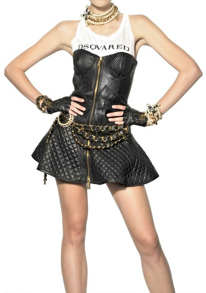 Dsquared2 quilted nappa leather dress in black
