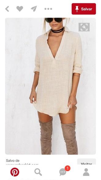 dress shirt dress nude