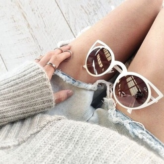 sunglasses cat eye white sunglasses