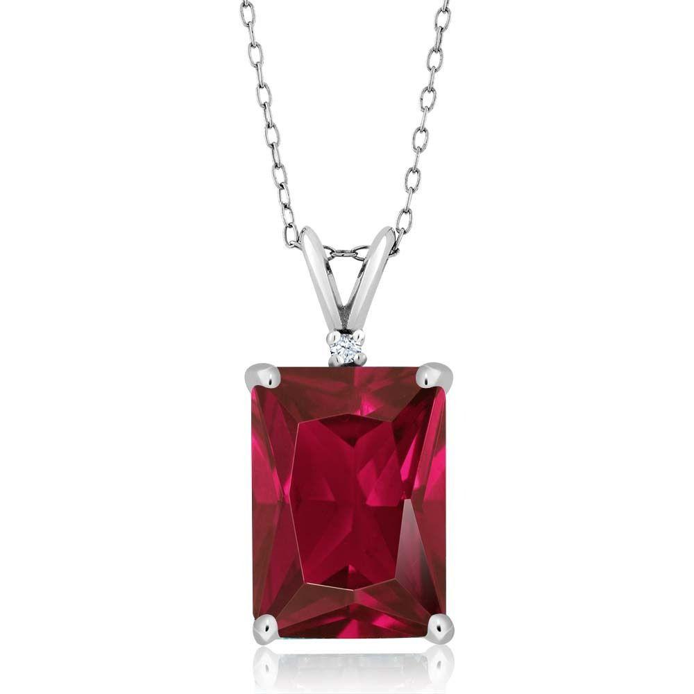 8.02 Ct Octagon Red Created Ruby 925 Sterling Silver Pendant