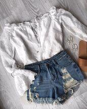 top,sabo skirt,sabo,luxe,lace,off the shoulder,blouse,boho,chic,denim,denim shortss,shortsd,denim shorts,short shorts,ripped,flatlay,flat lay