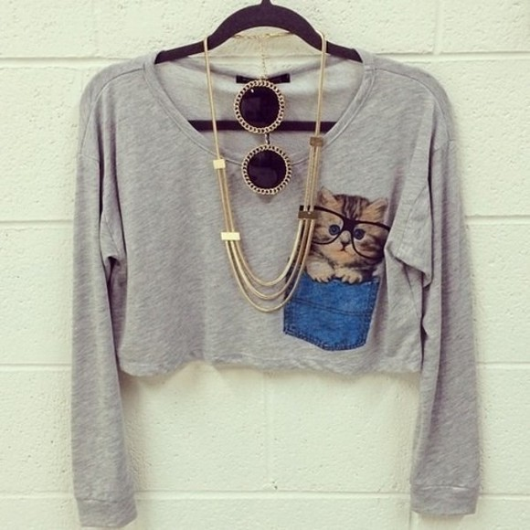 pocket summer grey sweater crop cat cute pretty