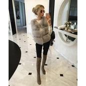 jacket,fur vest,faux fur vest,grey
