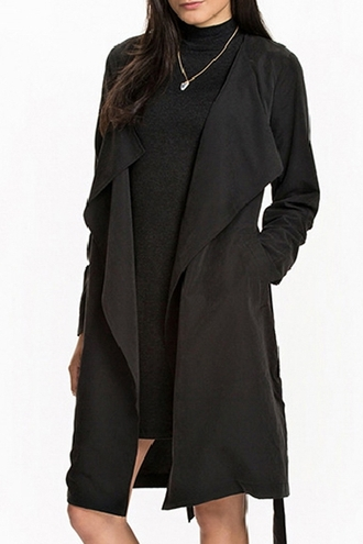 coat black zaful classy fall outfits noir winter coat all black everything