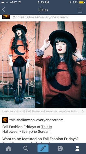 sweater fall outfits moon orange black cute grunge goth